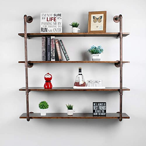 Weven 44″ Industrial Pipe Bookshelf Wall Mounted,4 Tier Rustic Floating Shelves,Farmhouse Kitchen Bar Shelving,Home Decor Book Shelves,DIY Bookcase,Hanging Wall Shelves,Retro Red - the best modern bookcase for the money