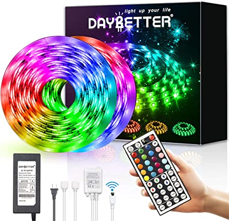 DAYBETTER Led Strip Lights 16.4ft 5m Non-waterproof Flexible Color Changing RGB SMD 3528 LED Strip Light Kit with 24 Keys IR Remote Controller and 12V Power Supply