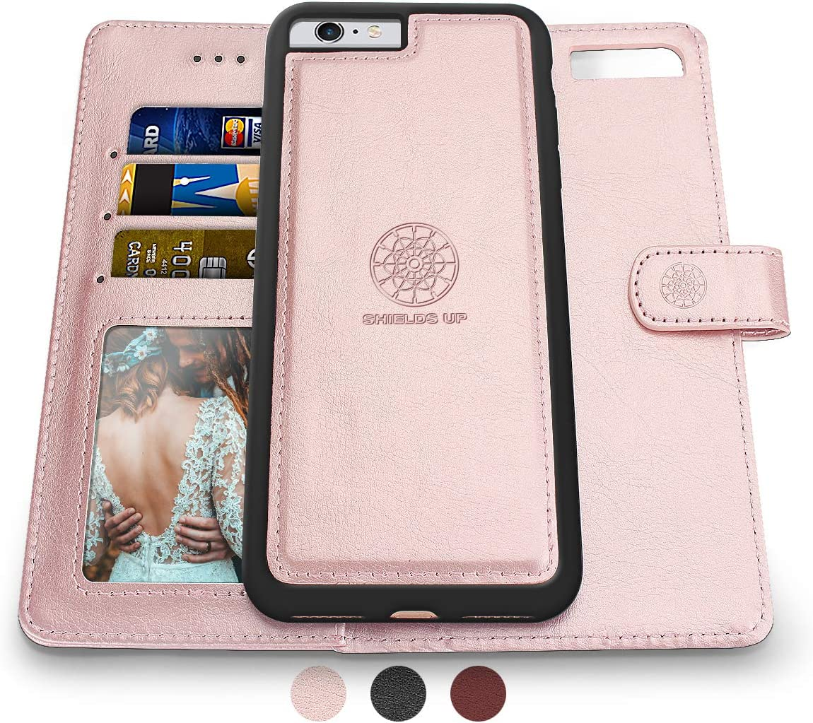 Shields Up iPhone 6S Plus Case/iPhone 6 Plus Case,[Detachable] Magnetic Wallet Case,Durable and Slim,Lightweight with Card/Cash Slots,[Vegan Leather] Cover for Apple iPhone 6S Plus/6 Plus -Rose Gold