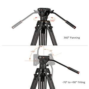 Cayer K3 Fluid Drag Pan Head for Video Tripod Monopod with 1/4 and 3/8 inches Screws Sliding Plate for DSLR Cameras Video Camcorders Shooting Filming, Max Loading 13.2LB (Color: K3 Head, Tamaño: K3 Head)