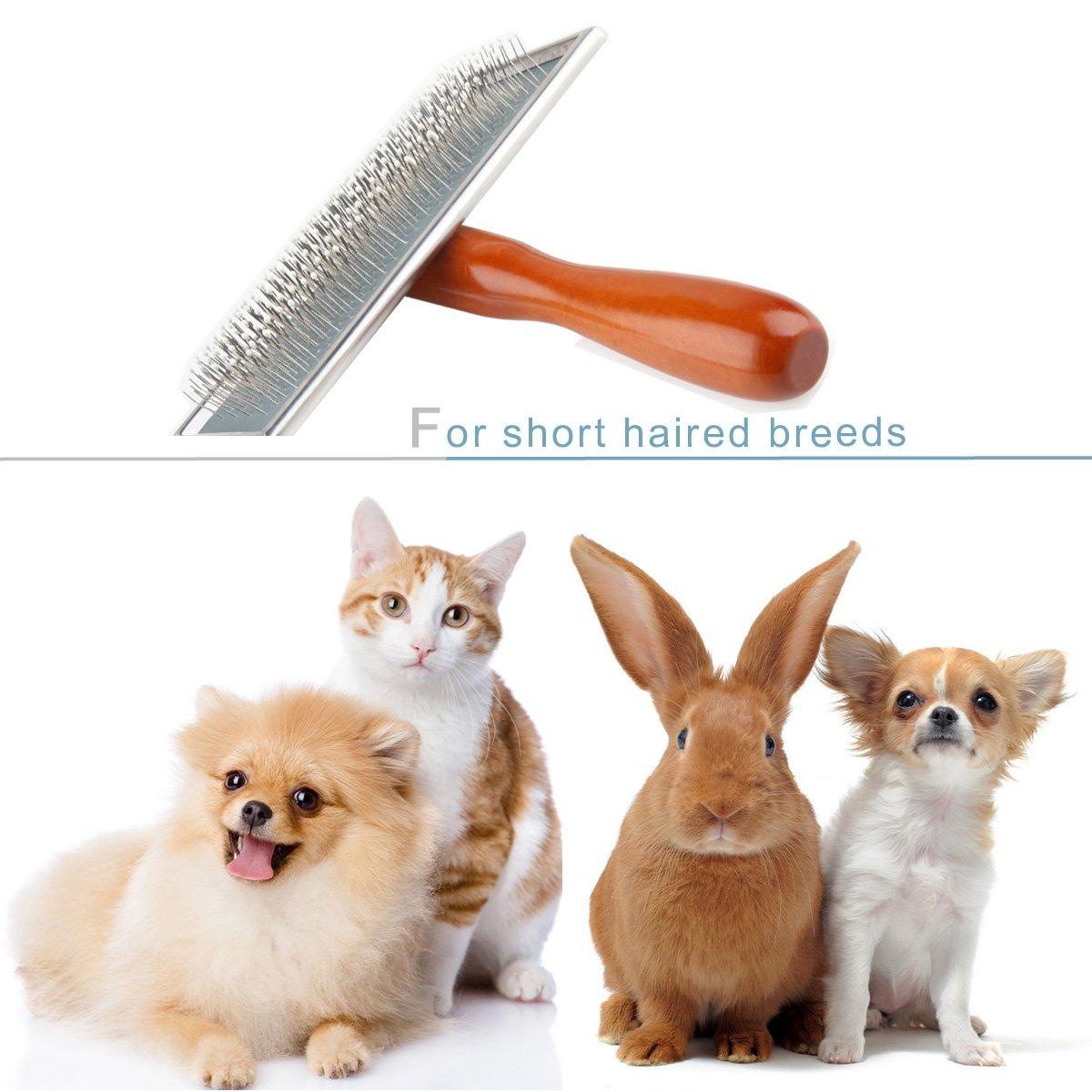Aseo deshedding Slicker cepillo para desenredar & Dematting pequeñas, medianas y grandes perros + gatos, con corta a largo pelo. Corte pelusa, masaje y ...
