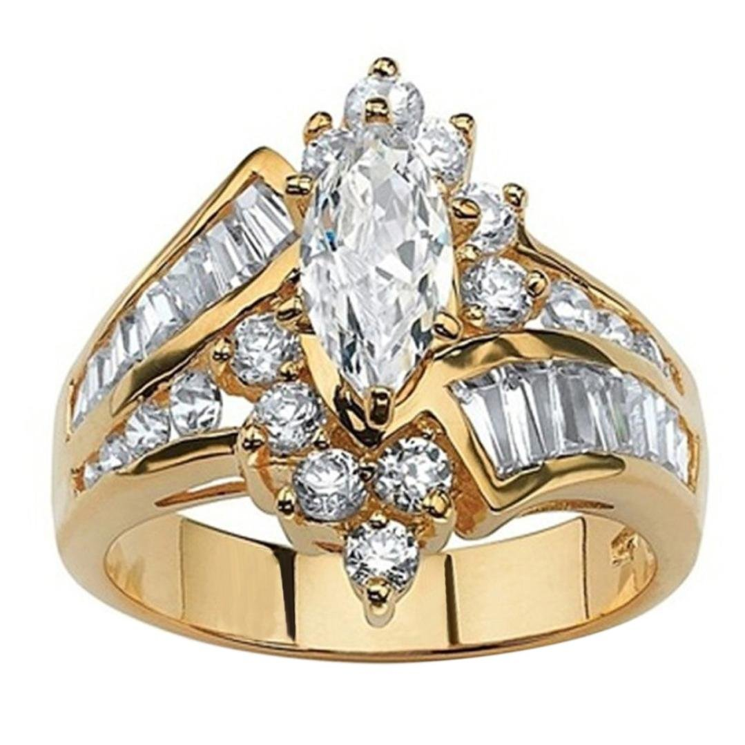 Promise Ring, Balakie Diamond Gold Fashion Cut Engagement Anniversary Jewelry (Gold, 7) by Balakie Ring (Image #1)