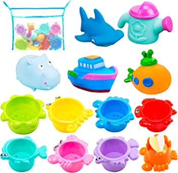 INNOCHEER Bath Toys for Toddlers with Quick Dry Organizer