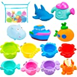 INNOCHEER Bath Toys and Stacking Cups for Toddlers with Quick Dry Organizer Net-13 Pcs Early Educational Toy for Bathtub Game