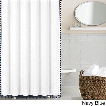 Echelon Home Tassel Shower Curtain Navy
