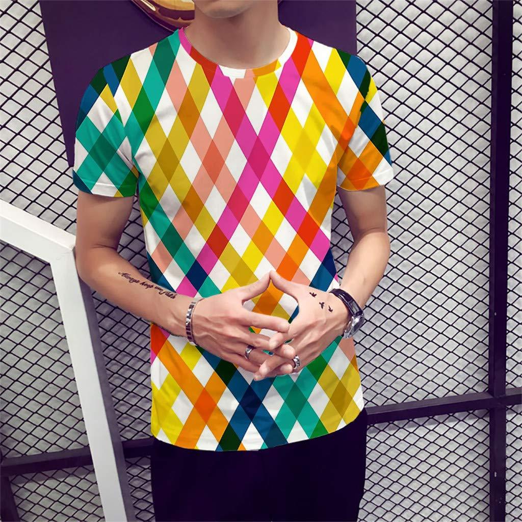 MOTOCO Hombre Camiseta de Manga Corta A Rayas Top/O Collar ...