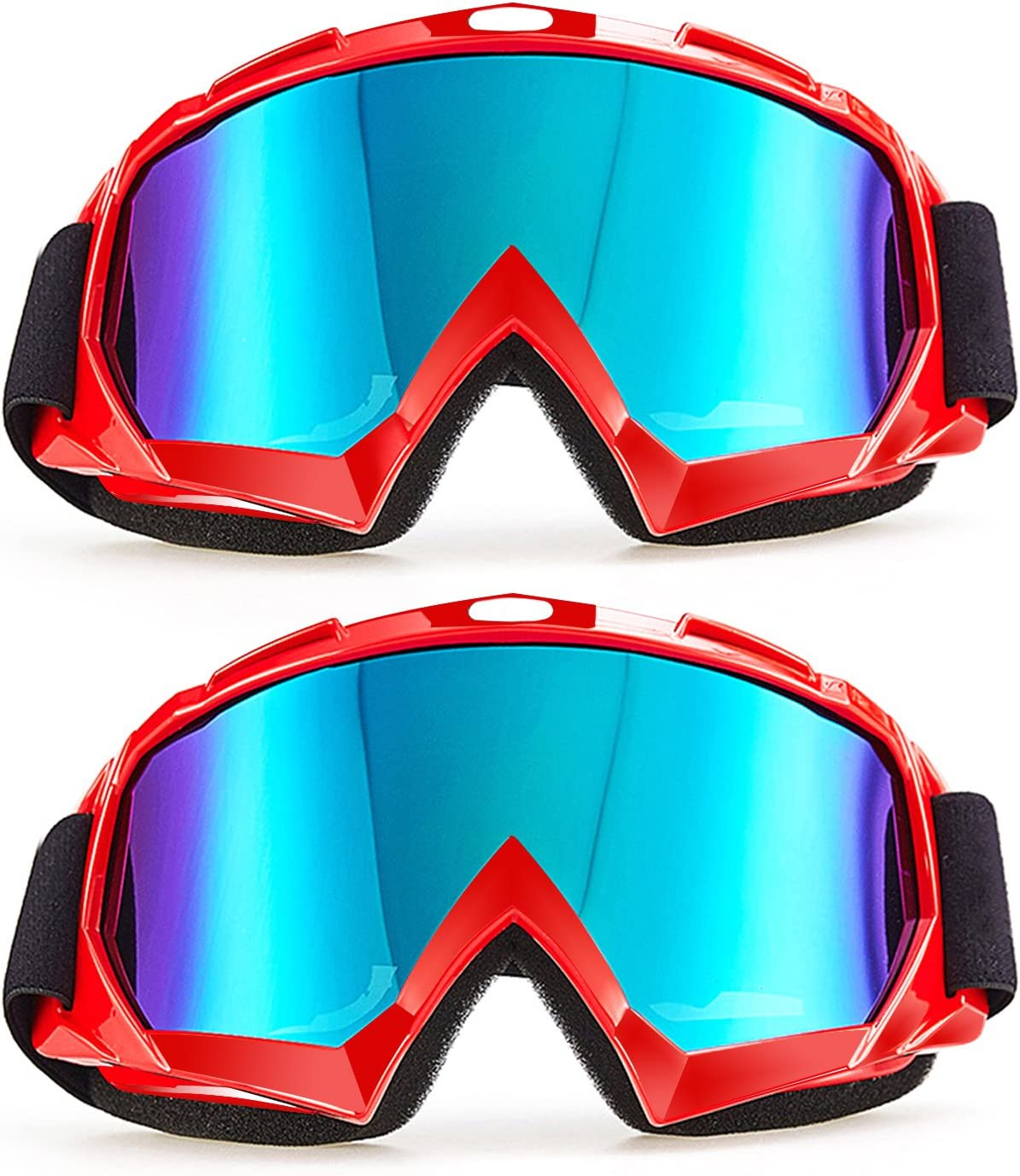 Carperipher Ski Goggles Snowboard Goggles Motorcycle Goggles Helmet Compatible Motorbike Motocross Dirt Bike Cycling ATV Racing Safety Goggles, 2 Pack