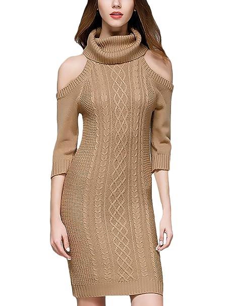 a5e8ca3124d23 HX fashion Vestidos Mujer Invierno De Punto Elegantes Cuello Alto Media  Manga Sin Basic Hombros Ajustados