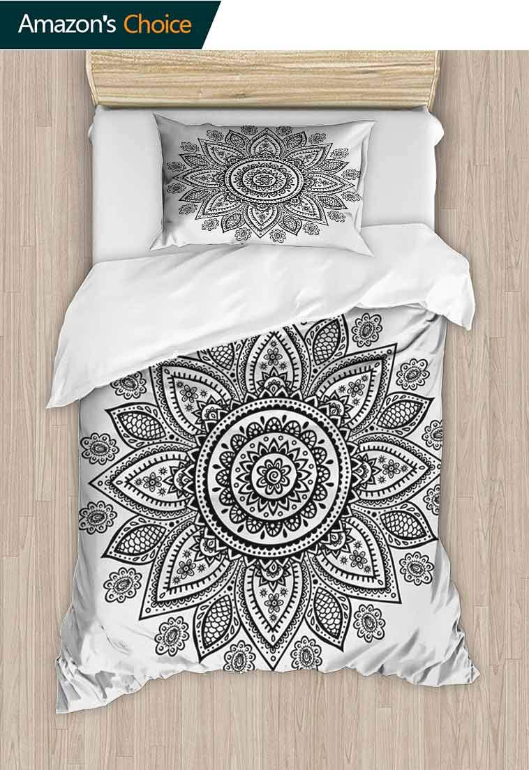 Henna Printed Quilt Cover and Pillowcase Set, Sunflower Pattern in Doodle Style with Geometrical Elements Circles and Lines Print, Print, Decorative Quilted 2 Piece Coverlet Set with 1 Pillow Shams,
