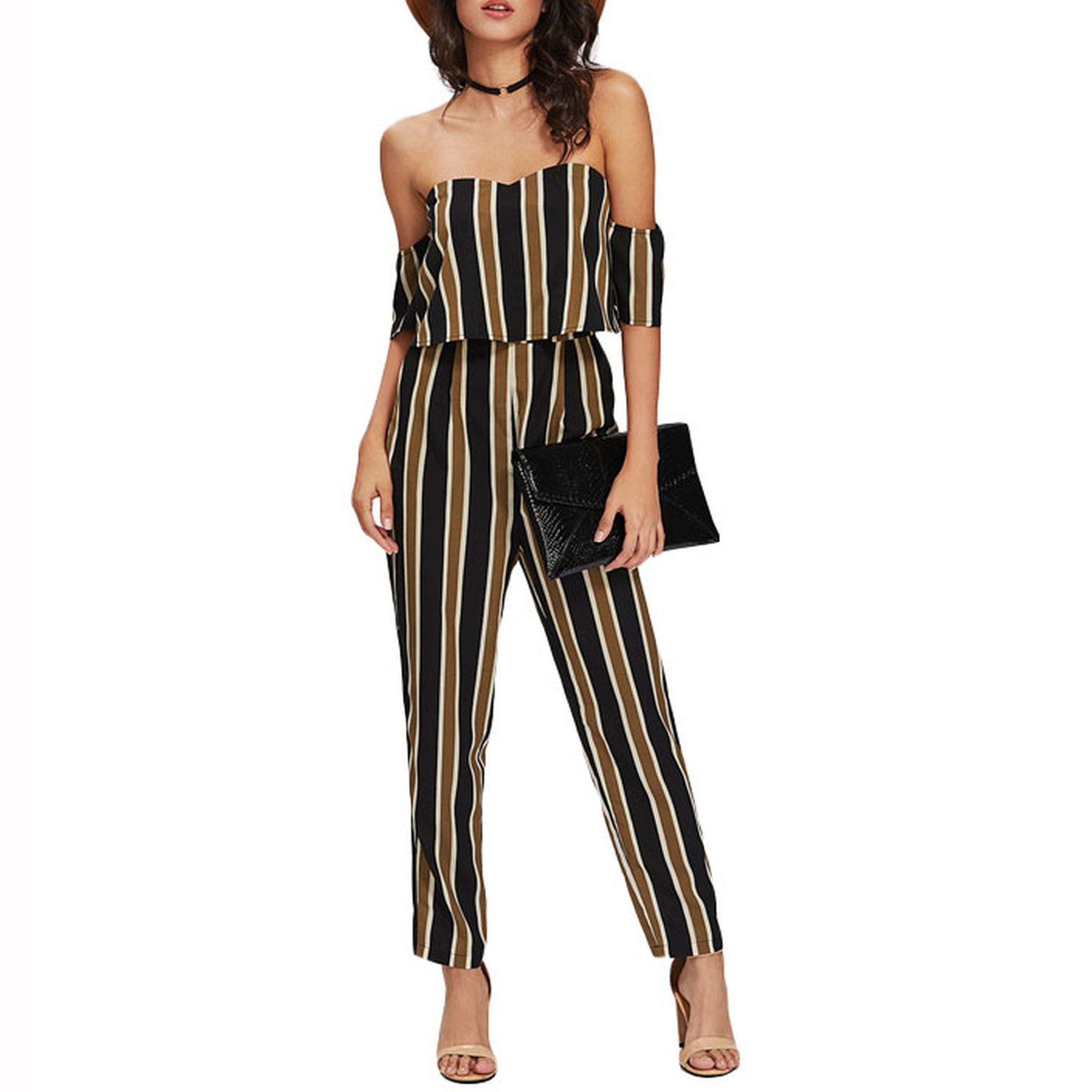 Letters-from-Iceland Flounce Layered Neck Striped Jumpsuit 2018 Off The Shoulder