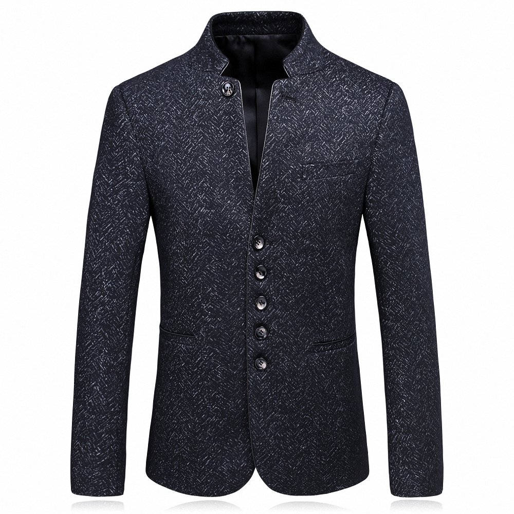 Gomy Men's Casual Slim Fit Suit Jacket Single Breasted Stand Collar Blazer Jacket Coat WT-6618M