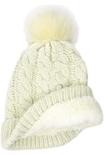 3b30f0b9cac BRUCERIVER Women Winter Chunky Knit Sherpa Lined Beanie Hat with Faux Fur  Pom Pom