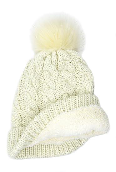 BRUCERIVER Women Winter Chunky Knit Sherpa Lined Beanie Hat with Faux Fur  Pom Pom (Beige 32a374d9989