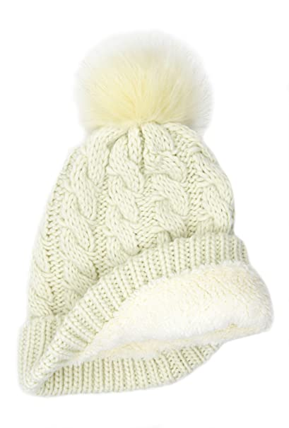 f926cb6a1a9ef BRUCERIVER Women Winter Chunky Knit Sherpa Lined Beanie Hat with Faux Fur  Pom Pom (Beige