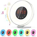 Dr.meter Natural Light Alarm Clock, Wake Up Light Digital Alarm Clock Sunrise Simulation, with 7-Color Night Light, 6 Nature Sounds, FM Radio, Touch Control and Special Snooze Design