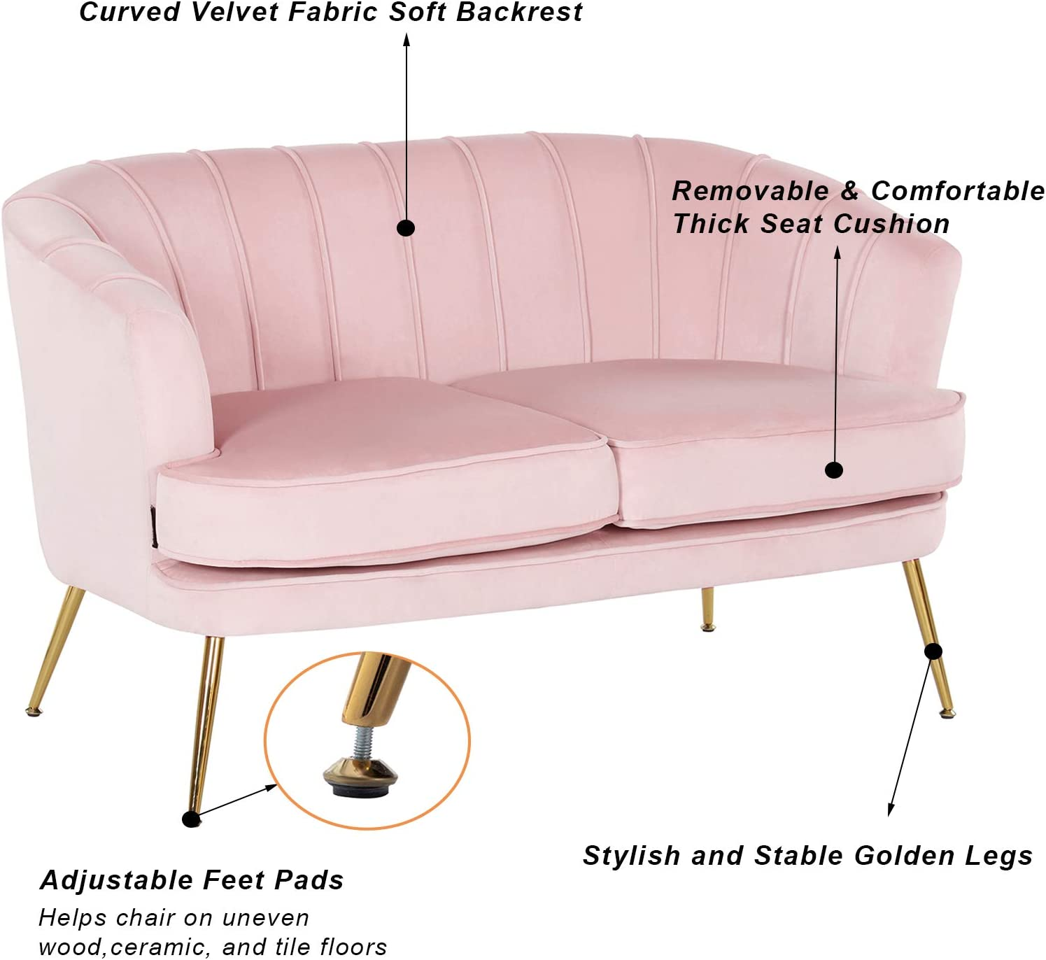 Artechworks Contemporary Velvet Loveseat Chair with Gold-Finished Metal Legs, 2-Seat Sofa for Living Room, Bedroom, Home Office, Pink