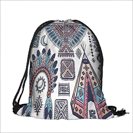 Amazon com: Drawstring Pocke Indian Teepee Tent Eagle Symbol