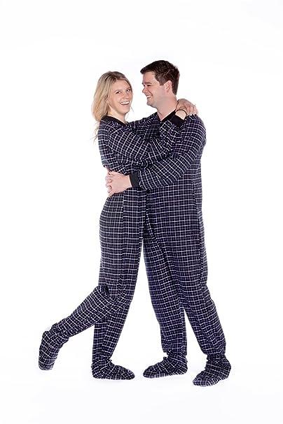 Big Feet Pajama Co. Adulto de franela de cuadros algodón pijamas no patas pijamas gota