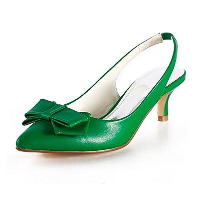 783471a1d6 Miyoopark Women's Kitten Heel Green Leather Bridal Wedding Pumps Formal  Party Evening Prom Shoes ...
