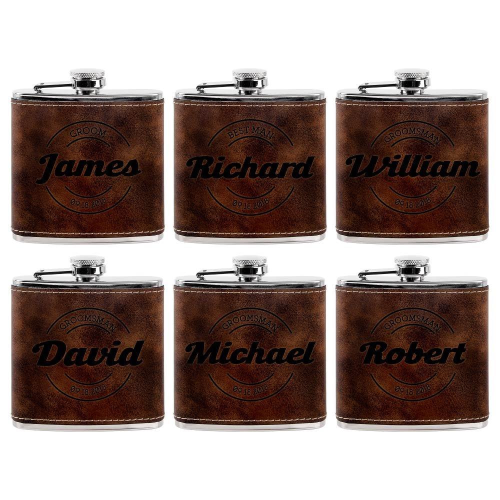 経典ブランド Personalized Leatherette Groomsmen ブラウン Flasks、Groomsmenプレゼント| 6oz Leatherette PersonalizedのフラスコLiquor # 7 7 ブラウン 6 ラスティック(Rustic) B07BZG4RRP, リサイクルトナーインクのTOA:487a3788 --- a0267596.xsph.ru