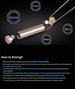 Mini Auriculares Inalámbrico,MindKoo TWS Estilo de Lápiz Labial Cascos Bluetooth 4.1 HIFI Modo de Estéreo/Mono Auriculares Earbuds Manos Libres + Batería ...