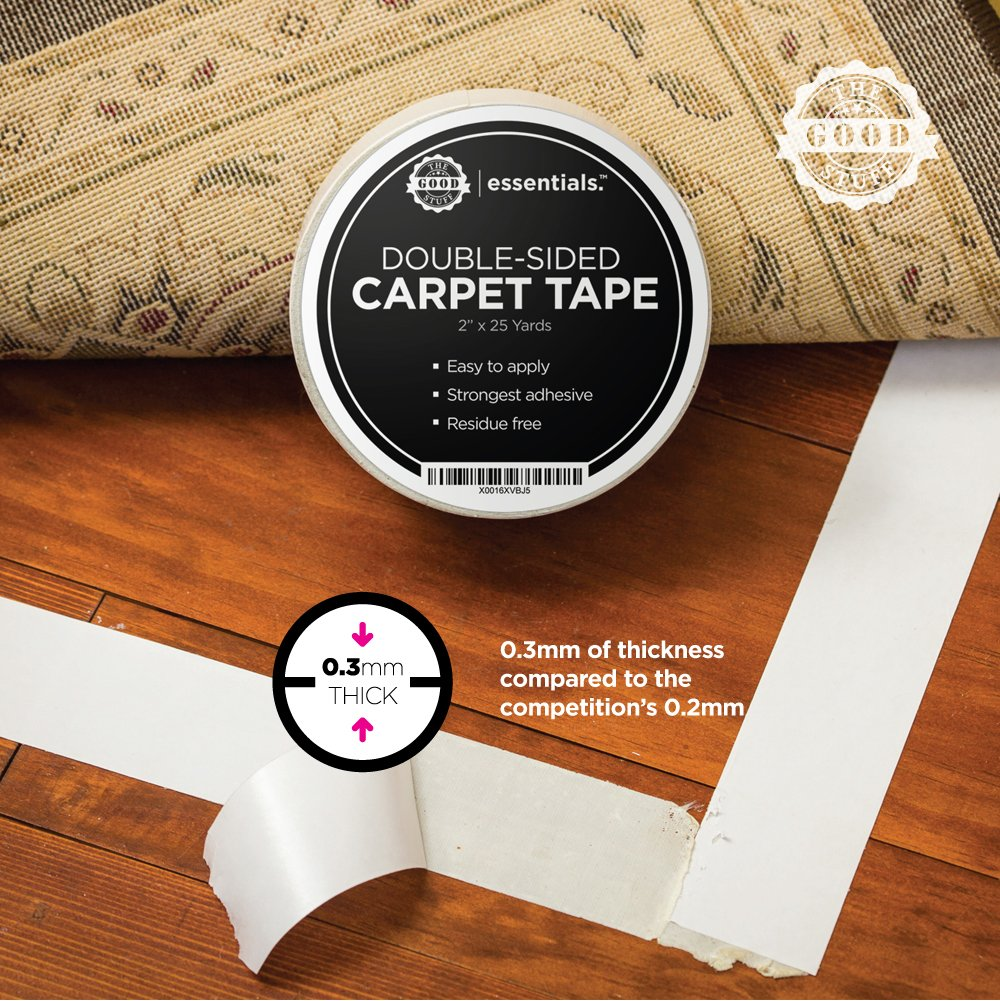 Strongest Double Sided Carpet Tape - Heavy Duty Rug Gripper Tapes for Mats, Rugs, Carpets and Runners. Secure, Non Slip, Extreme Strength, Two Sided, Sticky Tape [2 Inches x 75 Feet] by The Good Stuff (Image #4)