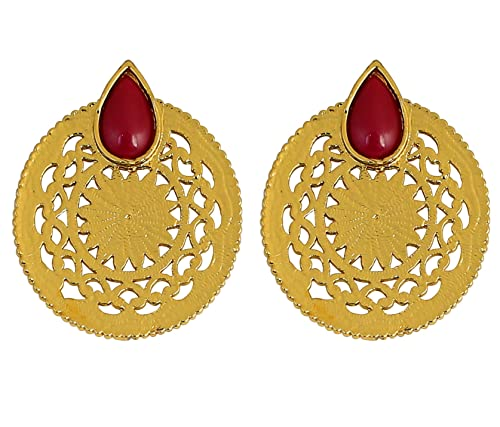 b6da8a379 Touchstone Indian Bollywood Monumental Cut Work red Faux Ruby Jewelry  Earrings in Antique Gold Tone