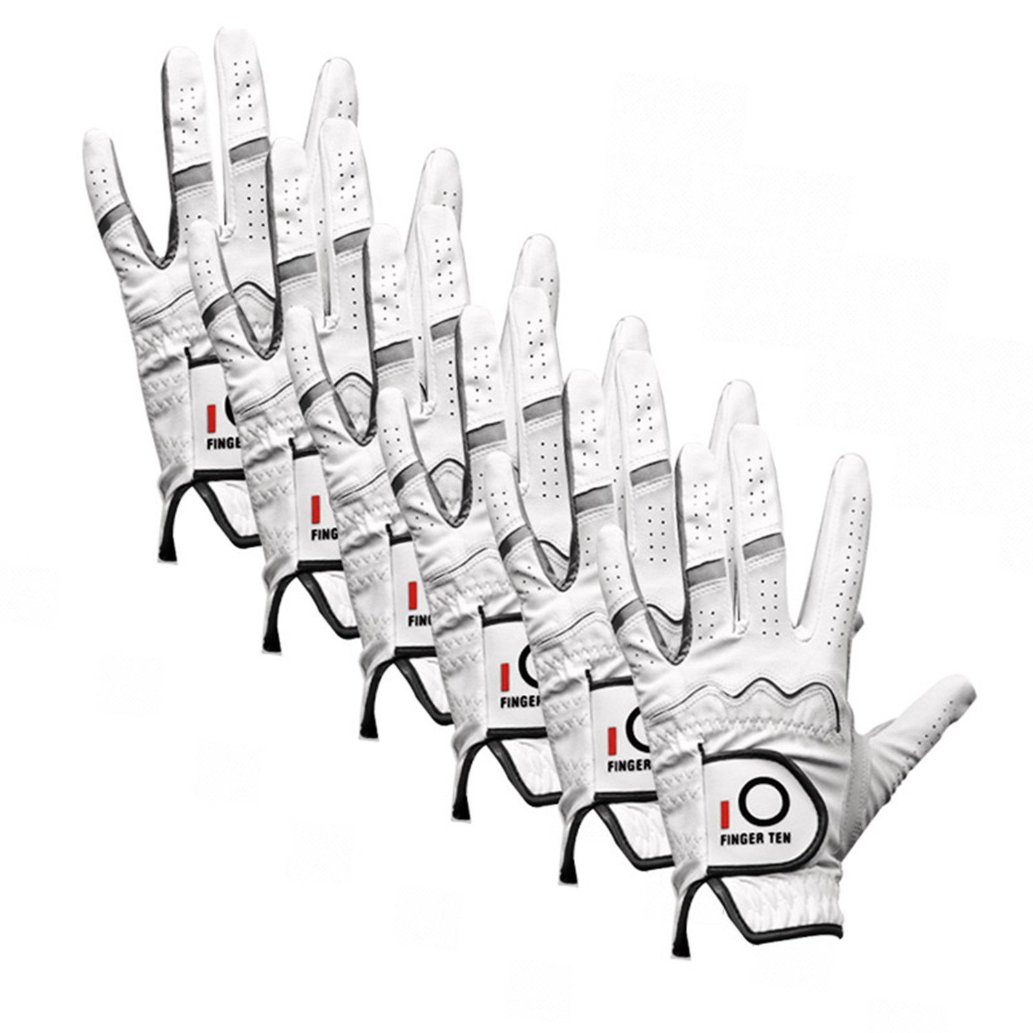 FINGER TEN Men Golf Gloves Left Hand 6 Pack, Stablegrip Soft Synthetic Leather, Right Handed Fit Small Medium Large XL (Small)