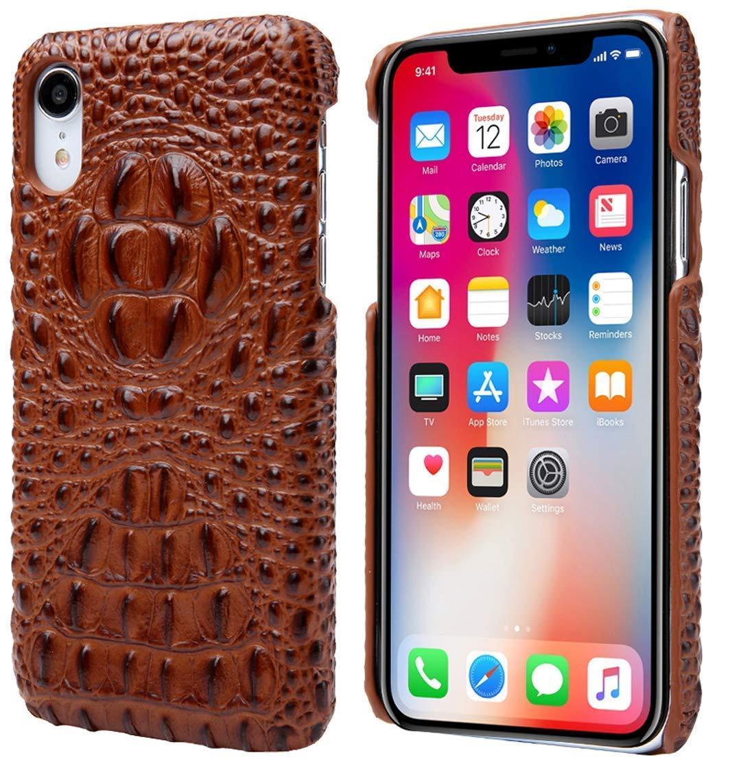 Cinlla iPhone XR携帯電話ケースカバー本物のワニヘッドレザーケースIIプレミアムスリムフィット手作り裏表紙ブラウン B07Q736ST1
