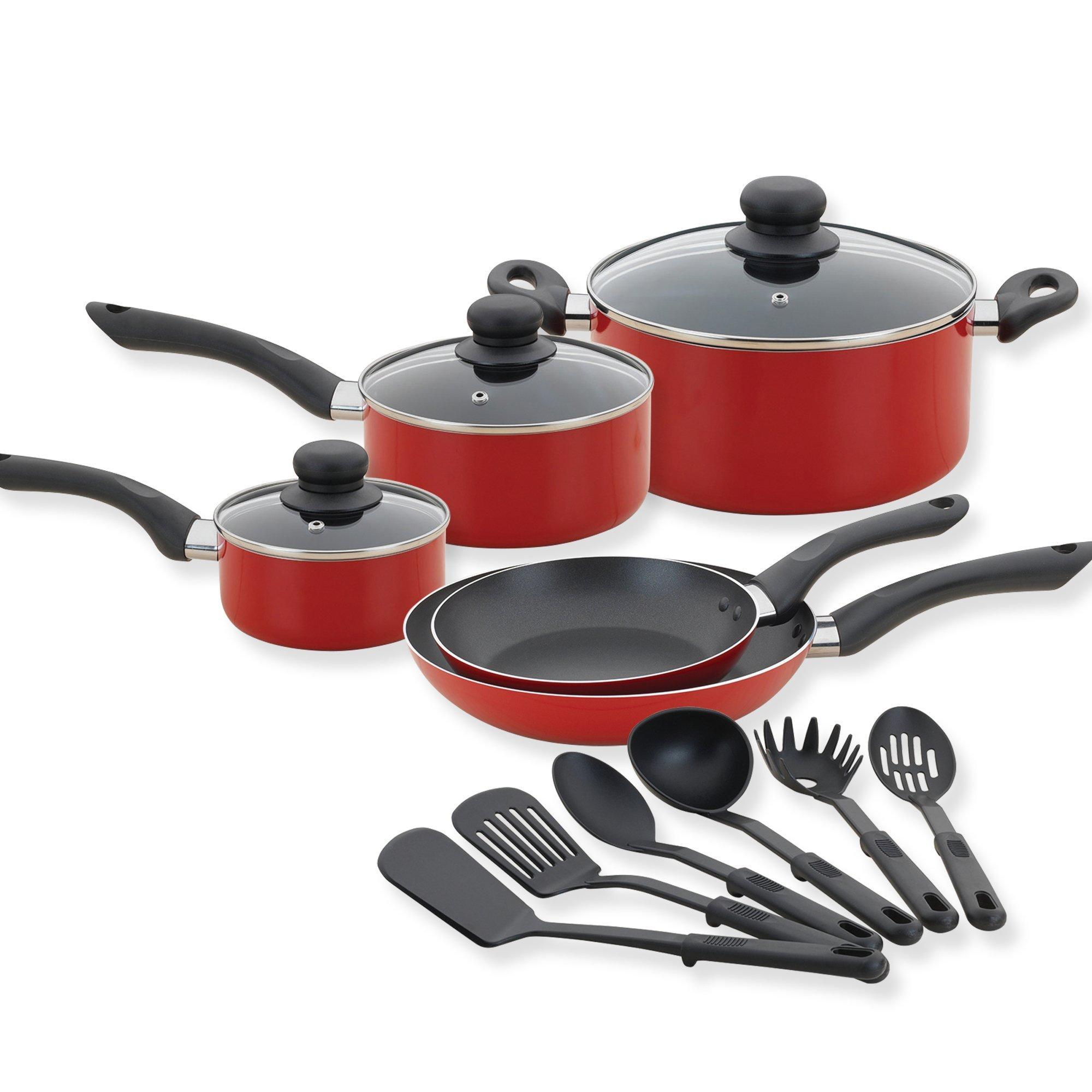 Betty Crocker 80180 14 Piece Cookware Set- Kitchen Pots and Pans Set Nonstick with Cooking Utensils - Non Stick Cookware Set PTFE and PFOA Free Basics Pots and Pans - Red by Betty Crocker