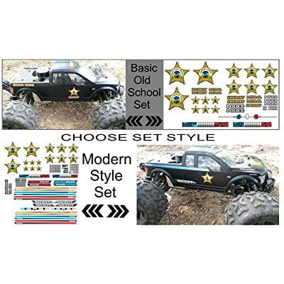 East Coast Vinyl Werkz RC Car Truck Decals Stickers - Sheriff - Choose from 2 Set Styles 1/10 1/8 Scale (Basic - Old School Set): Automotive
