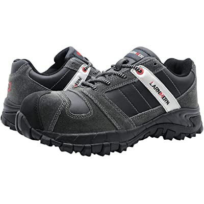 LARNMERN Steel Toe Shoes Men, Safety Work Reflective Strip Puncture Proof Footwear Industrial & Construction Shoe: Shoes