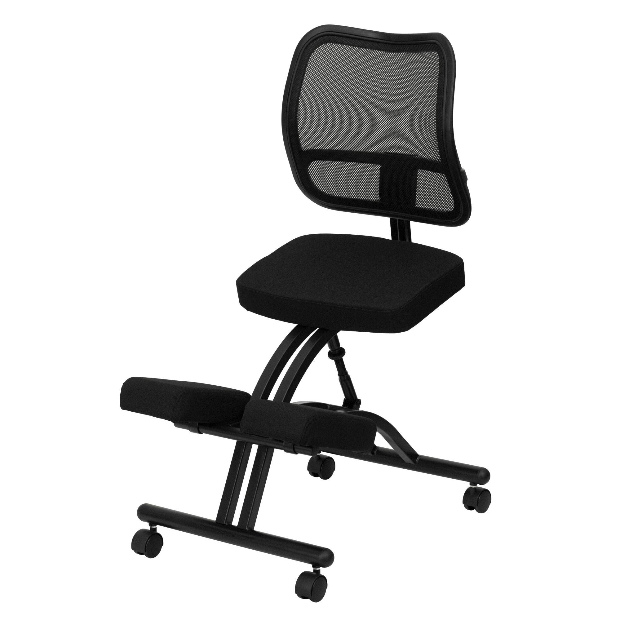 Delacora WL-3520-GG 20 Inch Wide Fabric Kneeling Chair with Mesh Back by Delacora