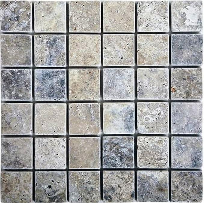 Epoch Tile SI2X2 2x2 Tumbled Travertine Silver