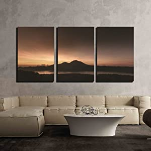 """wall26-3 Piece Canvas Wall Art - Nature Scenery of Mountain at Dusk - Modern Home Art Stretched and Framed Ready to Hang - 24""""x36""""x3 Panels"""