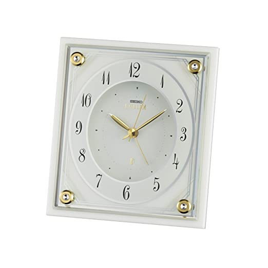 Seiko embem mármol Blanco Piedra Mantle – Batería de Cuarzo Reloj ...