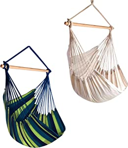 Hammock Sky Large Brazilian Hammock Chair Cotton Weave - Extra Long Bed - Hanging Chair for Yard, Bedroom, Porch, Indoor/Outdoor Natural + Blue & Green 2 Pack Bundle