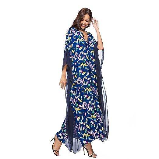 SODIAL Vestido de Tirantes Ropa Vestido Boho de Playa de Manga Larga Murcielago Estampado Floral Vintage Tamano Extra Grande (Azul, un Tamano/EE.UU.