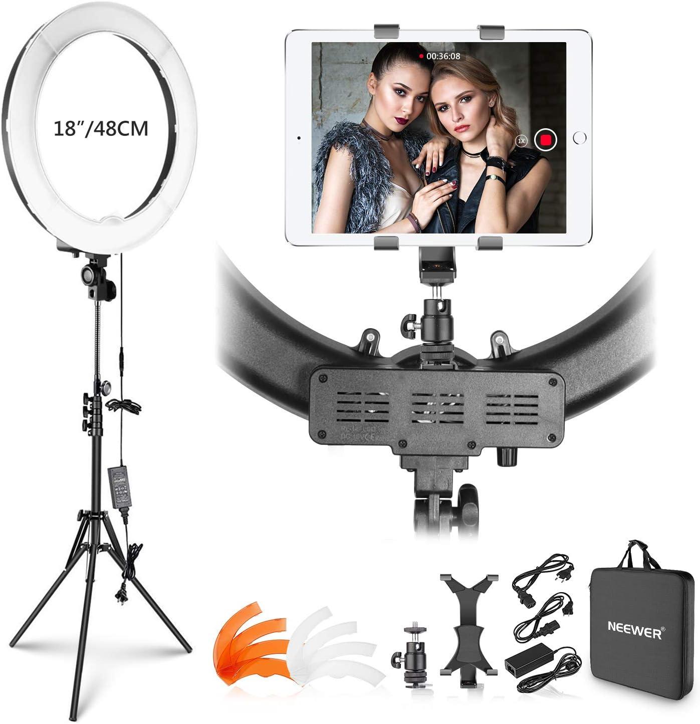 Neewer Kit Luz Anillo: 48cm 55W 5500K Luz Anillo LED Regulable con Soporte Luz iPad Abrazadera Tubo Blando Color Filtro Bolsa Transporte para Youtube Selfie Maquillaje Peluquería: Amazon.es: Electrónica