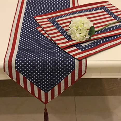 Bon Queenie®   Set Of 1 Tapestry Table Runner And 4 Placemats (American Flag)