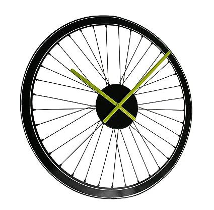 Relojes de pared vinilo negro radios bicicleta rueda Peel y Stick vinilo reloj de pared 19