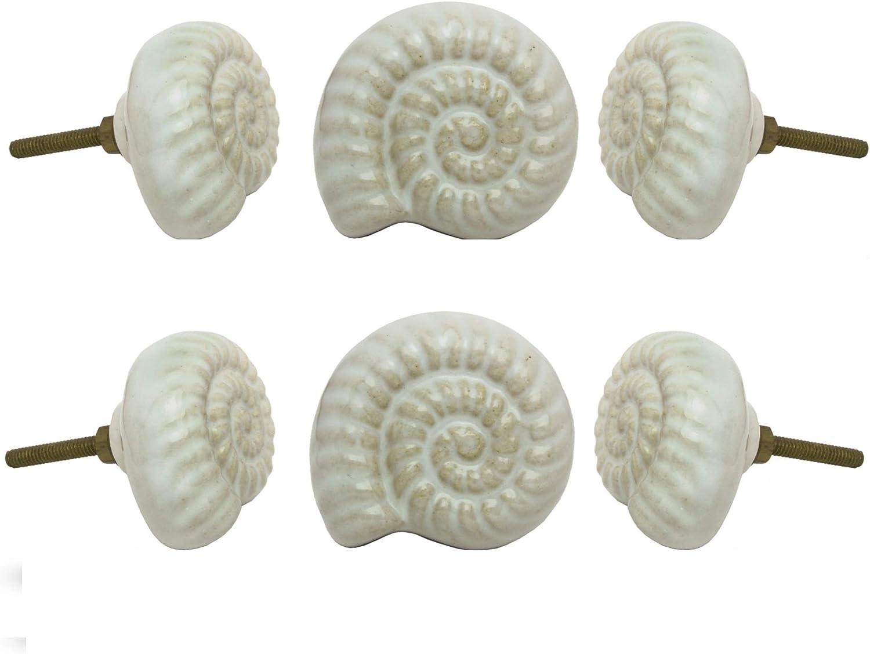 Set of 6 Ceramic Beach Shell White Handmade Cabinet Knobs Beaten Copper Handmade Drawer Pull Kitchen Cupboard Pull Dresser Door Handle by Trinca-Ferro