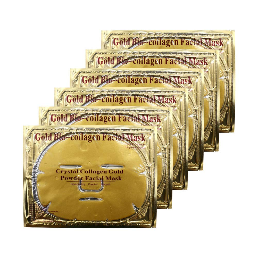 Adofect 6 Pieces 24K Gold Gel Collagen Facial Masks Hydrating Gold Facial Masks Crystal Sheet Patches For Anti Aging, Whitening, Puffiness, Moisturizing, Deep Tissue Rejuvenation and Hydrates Skin