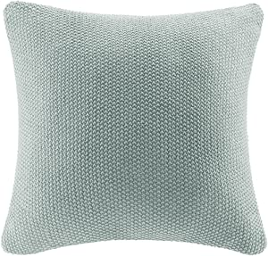 INK+IVY Bree Cable Knit Euro Décor Throw Pillow Cover, Casual Square Decorative Pillow Case for Sofa, Bed, Outdoor Chair, 26x26, Aqua