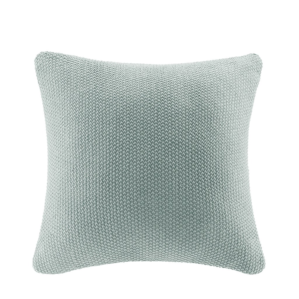 Ink+Ivy Bree Knit Euro Throw Pillow Cover, Casual Square Decorative Pillow, 26X26, Aqua