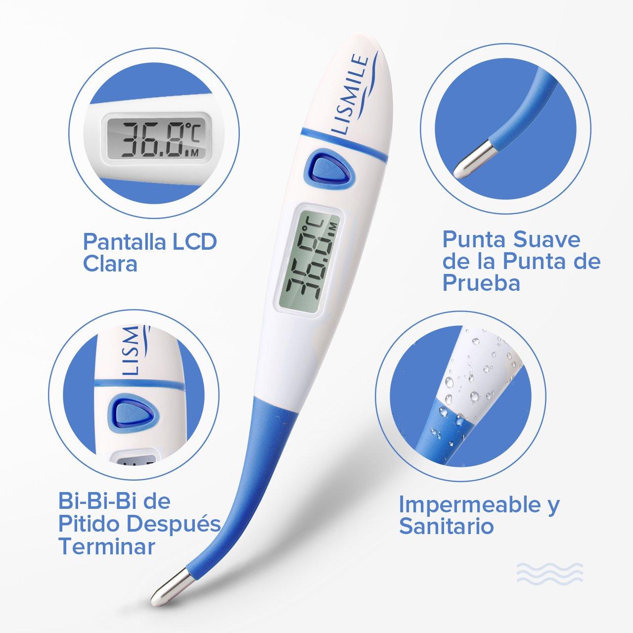 Termómetro Clínico Lismile Digital Advertencia de Sobrecalentamiento Caja de Almacenamiento Incluida: Amazon.es: Salud y cuidado personal