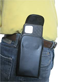 product image for TurtleBack TB Holster Pouch, Rugged and Heavy Duty, with Strong Belt Clip, Fits Google Pixel 4XL (2019) with Slim-Fit Case On Device (Blk Leather-Vertical Metal Clip)