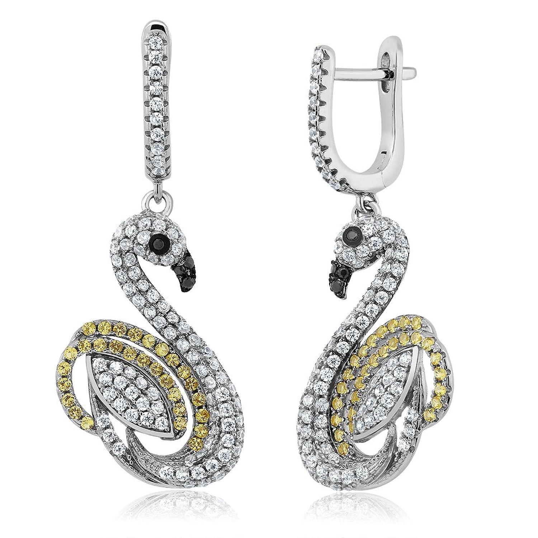 2.00 Ctw 925 Sterling Silver White & Yellow Cubic Zirconia Swan Dangle Earrings