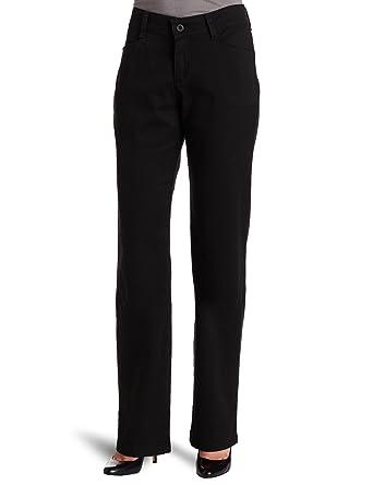 d7fddb65 Lee Women's Relaxed Fit Plain Front Straight Leg Pant- Black, Black, ...