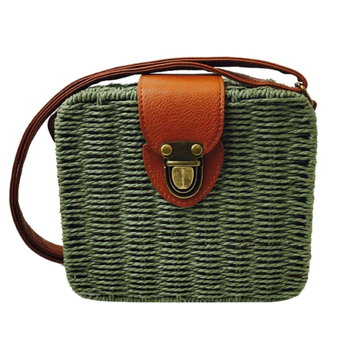 Summer Straw Woven Bag for Women Beach Handbag Crossbody Shoulder Bag Messenger Satchel (Green)